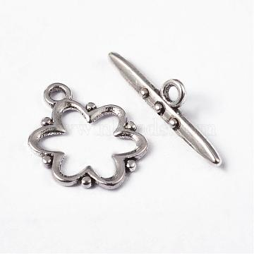 Alloy Toggle Clasps, Lead Free and Cadmium Free, Antique Silver, Flower: 19x15x1.5mm, hole: 2mm. Bar: 24x6x4mm, hole: 2mm(X-EA777Y)
