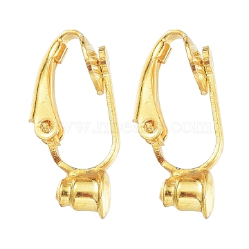 Brass Clip-on Earring Converters Findings, for Non-Pierced Ears, Golden, 19x6x9mm, Hole: 1mm(X-KK-Q115-G)