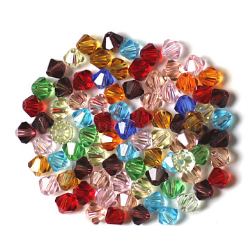 Imitation Austrian Crystal Beads, Grade AAA, Faceted, Bicone, Mixed Color, 4x4mm, Hole: 0.7~0.9mm(SWAR-F022-4x4mm-M)