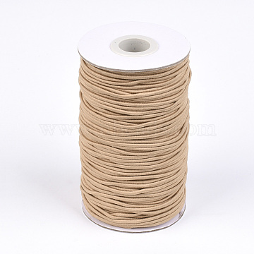 Round Elastic Cord, with Fibre Outside and Rubber Inside, Tan, 2mm, about 76.55 yards(70m)/roll(EC-R032-2mm-50)