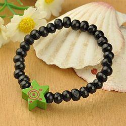 Bracelets en bois pour enfants, Les cadeaux de jour pour enfants, avec des perles colorées étoiles, élastique, noir, 45mm(BJEW-JB00766-05)