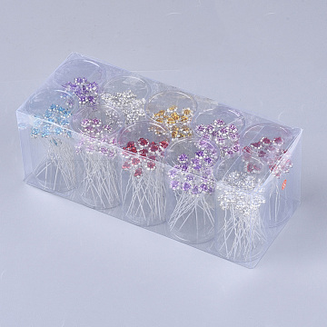 Iron Hair Forks, with Rhinestone and Aluminum, Flower, Mixed Color, 68~68.5mm; about 200pcs/box(OHAR-S200-03-B)
