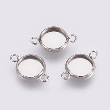202 Stainless Steel Cabochon Connector Settings, Plain Edge Bezel Cups, with 304 Stainless Steel Loop, Flat Round, Stainless Steel Color, Tray: 8mm, 16.5x10x1.5mm, Hole: 1.5mm(X-STAS-I088-K-06P)