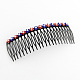 Trendy Women's Iron Hair Combs with Flower Rhinestones(OHAR-R175-05)-1
