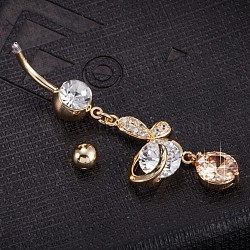 Piercing Jewelry, Eco-Friendly Brass Cubic Zirconia Navel Ring, Belly Rings, with Use Stainless Steel Findings, Real 18K Gold Plated, Butterfly, Orange, 53x15mm(AJEW-EE0003-34E)