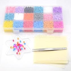 3500pcs 5mm perles à repasser fondantes bricolage de jouets , 1 pincettes pc de fer et étoiles abc pegboards, 12pcs papier à repasser, pincettes: 112.7x9 mm; pegboards: 103x92x5 mm; papier: 110x110 mm(DIY-X0023)