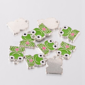 Alloy Enamel Pendants, Frog, Lead Free and Cadmium Free, Platinum, Colorful, about 16.5mm long, 12.5mm wide, 1mm thick, hole: 2mm(X-EA218Y)
