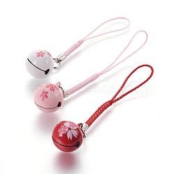 Мобильная украшения, медный колокольчик, с нейлоновой, шаблон сакуры, разноцветные, 100 мм(KKB-P001-02)