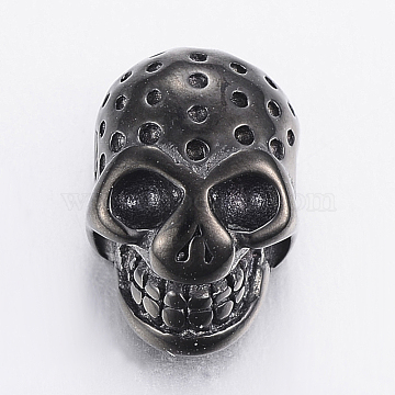 304 Stainless Steel Bead Rhinestone Settings, Skull, Gunmetal, Fit For 0.5~1mm and 3mm, 13.5x9x7mm, Hole: 2mm(STAS-F150-102B)
