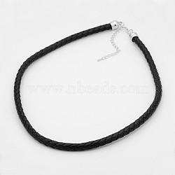 tressés colliers de cordon en cuir, avec extrémités de cordon en laiton plaqué platine et chaînes de queue en fer, noir, 21.2(NJEW-J023-18)