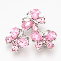 alliage strass boutons-pression, Boutons de bijoux, papillon, platine, rose clair, 17.5x20x8 mm; bouton: 5.5 mm(X-SNAP-T001-10A)