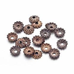 Antique Bronze Iron Flower Bead Caps, Nickel Free, 5x1.5mm, Hole: 1mm; about 330pcs/10g(X-IFIN-D023-AB-NF)