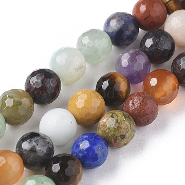 Natural Mixed Gemstone Beads Strands, Faceted, Round, 8mm, Hole: 0.8mm; about 48pcs/strand, 15.35 inches(39cm)(G-F668-28-8mm)