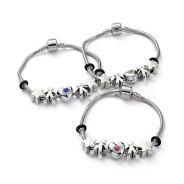 European Bracelets, with Tibetan Style Alloy Beads, Alloy Rhinestone Beads, Rubber Spacer Beads and Brass Clasps, Heart & Star & Human, Antique Silver & Platinum, 7-1/8 inches(18cm), 3mm(BJEW-JB04857-M)