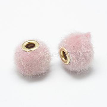 14mm Pink Rondelle Fibre Beads