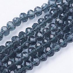 Imitate Austrian Crystal Faceted Glass Rondelle Spacer Beads, PrussianBlue, 6x4mm, Hole: 1mm; about 90~93pcs/strand
