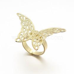 laiton réglable composants de réglage de l'anneau en filigrane, plaqué longue durée, anneau papillon, or, 17 mm; plateau: 27x39x0.6 mm(X-KK-L054-04)