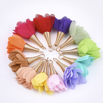 Golden Mixed Color Flower Cloth Pendants
