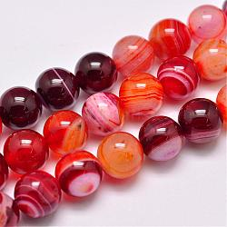 Natural Striped Agate/Banded Agate Bead Strands, Dyed & Heated, Round, Grade A, FireBrick, 10mm, Hole: 1mm; about 39pcs/strand, 15.2inches(387mm)