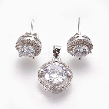 Brass Micro Pave Cubic Zirconia Jewelry Sets, Pendants and Stud Earrings, Flat Round, Clear, Platinum, 15x13x5.5mm, Hole: 4x5mm; 10x6mm; Pin: 0.7mm(SJEW-F182-02P)