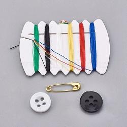 Поделок швейные наборы, с пластиковой кнопкой, швейные нитки шнуры, иглы, английская булавка, разноцветные, 6.9x4.4x1.7 см(TOOL-WH0077-01)
