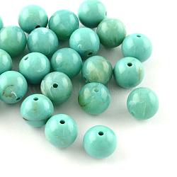 Perles rondes en acrylique d'imitation pierre précieuse, turquoise, 12mm, Trou: 2mm(X-OACR-R029-12mm-06)