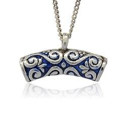 Antique Silver alliage de tonalité liens émail de suspension, perles écharpe bélière, Tube, bleu, 19x32x8mm, trou: mm 3; 5 mm de diamètre intérieur(ENAM-J425-01AS)