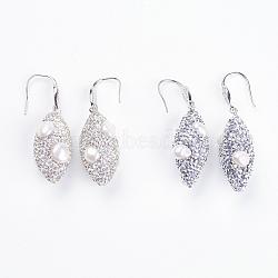 boucles d'oreilles perles, avec les résultats en laiton, et strass en pâte polymère, Grade A, couleur mélangée, 55~57 mm; broche: 1 mm; pendentif: 36~38x15~18 mm(EJEW-F140-04)