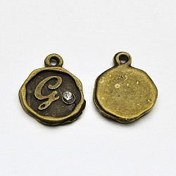 Plaqué bronze antique alliage strass breloques de alphbet, rond et plat avec letter.g, sans nickel, 13x10x1.5mm, Trou: 1mm(ALRI-J152-G-NF)