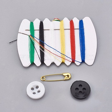 DIY Sewing Kits, with Plastic Button, Sewing Thread Cords, Needles, Safety Pin, Mixed Color, 6.9x4.4x1.7cm(TOOL-WH0077-01)