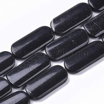 Natural Black Stone Beads Strands, Oval, 39~40x18x6mm, Hole: 1.5mm; about 10pcs/strand, 15.75''(40 cm)(G-S364-025)
