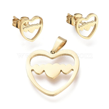 Valentine's Day 304 Stainless Steel Jewelry Sets, Pendants and Stud Earrings, with Ear Nuts, Heart, Golden, 19x18.5x1mm, Hole: 5.3x2.5mm; 9x9mm, Pin: 0.7mm(SJEW-K154-08G)