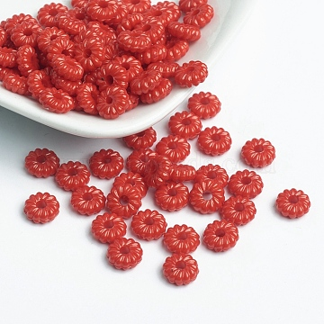 9mm Red Donut Acrylic Beads
