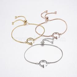 bracelets réglables en laiton à micro-pavé de zircons cubiques, bracelets de slider, avec des chaînes de boîte en laiton, forme des ongles, noir, couleur mélangée, 10-1 / 4 (260 mm)(BJEW-G586-26)