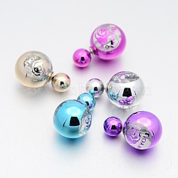 Mixed Color Resin Stud Earrings(EJEW-X0004)