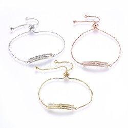 """Bracelets réglables en laiton à micro-pavé de zircons cubiques, Bracelets coulissants, bar, clair, couleur mixte, 10-5/8"""" (27cm); 1.2mm(BJEW-H583-25)"""