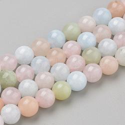 природные морганит нитей бисера, вокруг, 10x9.5 mm, отверстия: 1 mm; о 38 шт / прядь, 16.3(G-Q961-08-10mm)