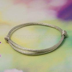Bracelet faisant , avec du fil de nylon, gris clair, diamètre réglable: 40~80 mm(AJEW-JB00014-13)