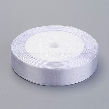 Satin Ribbon for Wedding Decoration, White, about 3/4 inch(20mm) wide, 25yards/roll(22.86m/roll)(X-RC20mmY001)