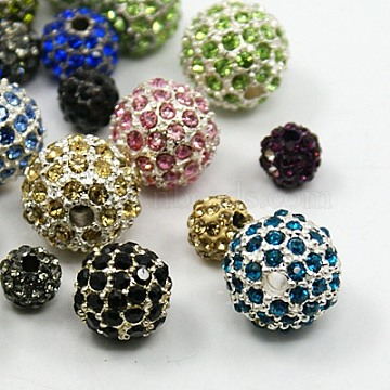 Alloy Rhinestone Beads, Round, Mixed Style, Mixed Color, 6~12mm, Hole: 1.5~2.5mm(RB-MSMC002-04)