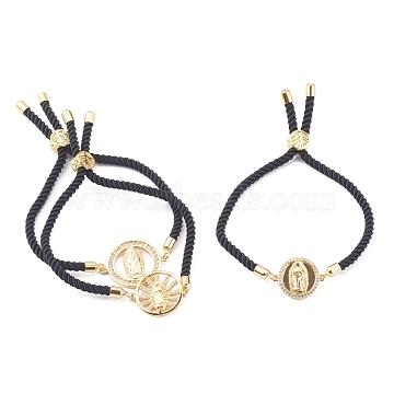 Religion Theme, Nylon Cord Slider Bracelets, Bolo Bracelets Sets, with Brass Micro Pave Clear Cubic Zirconia Link, Golden, Black, Inner Diameter: 3/4~2-3/4 inches(1.9~7cm), 3pcs/set(BJEW-JB06032)