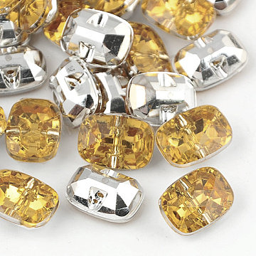 Taiwan Acrylic Rhinestone Buttons, Faceted, 1-Hole, Rectangle, Pale Goldenrod, 30x21x10.5mm, Hole: 2mm(BUTT-F019-30mm-30)