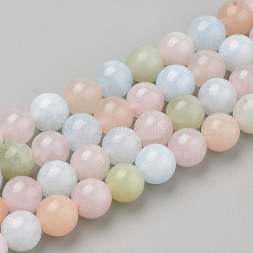 Natural Morganite Beads Strands, Round, 10x9.5mm, Hole: 1mm; about 38pcs/strand, 16.3''(G-Q961-08-10mm)