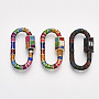 Mixed Color Mixed Color Oval Brass Locking Carabiner(KK-S338-139)