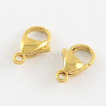 Golden Stainless Steel Clasps(STAS-R050-9x5mm-02)