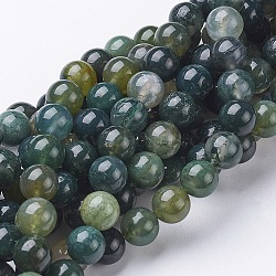Natural Moss Agate Beads Strands, Round, about 8mm in diameter, hole:  1mm, about 51pcs/strand