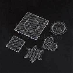 Plaques pour les petites perles à repasser de 2.5mm, carré & étoile & coeur & plat rond, clair, 75~140x75~140x4.5~6 mm; 5 pcs / set(DIY-X0287-01)