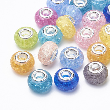 Crackle Resin European Beads, Large Hole Beads, with Silver Color Plated Brass Cores, Rondelle, Mixed Color, 13.5~14x8.5~9mm, Hole: 5mm(RPDL-S012-B)