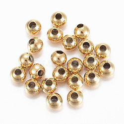 304 Stainless Steel Beads, Round, Golden, 4x3.5mm, Hole: 1.5mm(STAS-H558-36G)