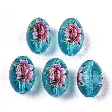 Printed & Spray Painted Transparent Glass Beads, Oval with Floral Pattern, Sky Blue, 15x10mm, Hole: 1.6mm(GLAA-S047-07A-A02)